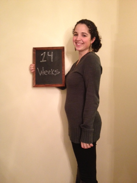 14 weeks and the bump is starting to show even through sweaters.