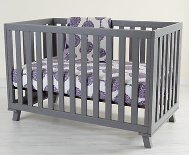 Land of Nod Low Profile Crib in Gray