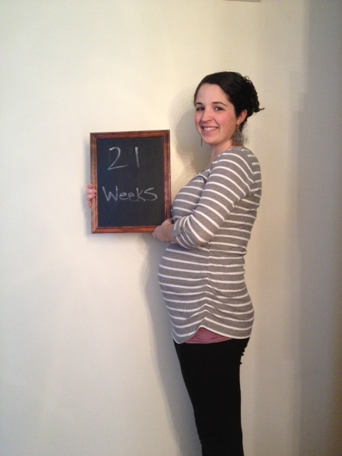 21 weeks - baby is 13 ounces and the size of a large banana