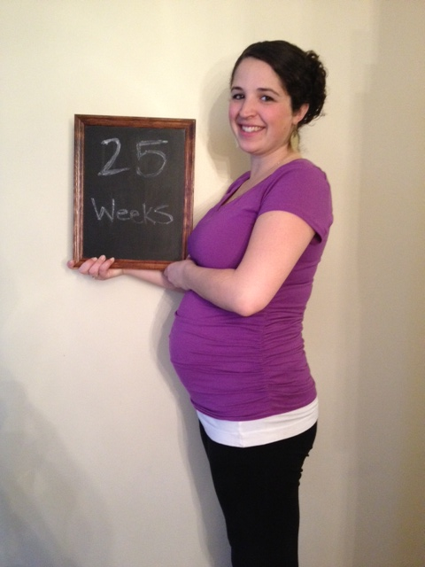 Here's the new me, 8lbs heavier than I was a month ago. Baby is the size of an eggplant.
