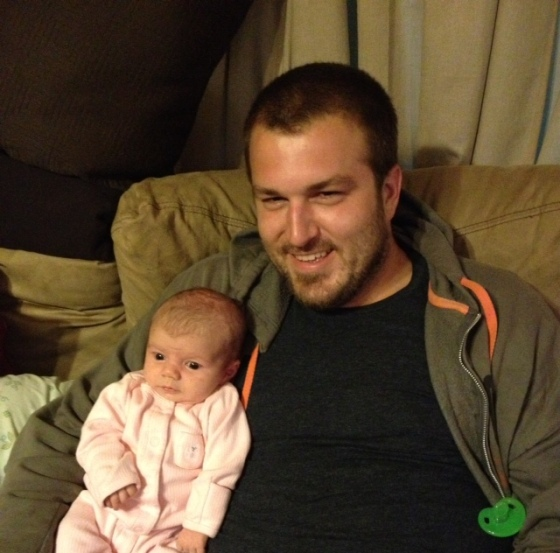 """Uncle Dan"" hanging out with baby Charlotte"