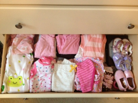 Baby's dresser is already filled with NB and 0-3 month clothes!