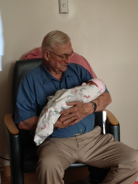 Mia meets great-grandpa Jack