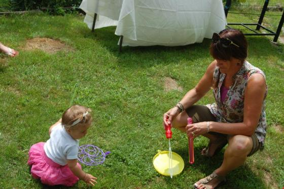 We played with bubbles.