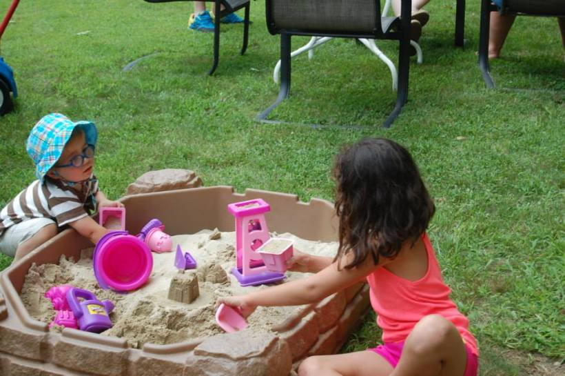 We played in the sandbox.